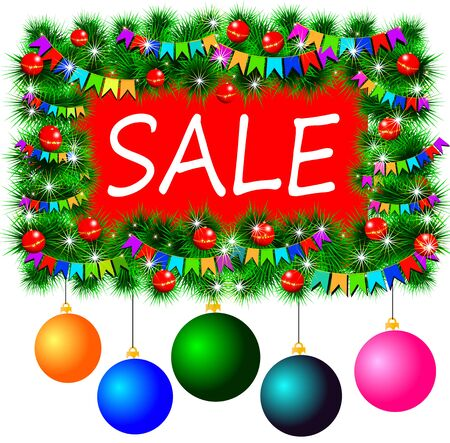 Christmas frame with a sale with Christmas toys