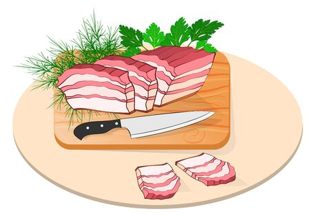 flaky lard on a board with a knife and greens.    Made in cartoon flat style Иллюстрация