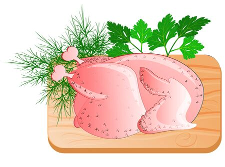 fresh chicken lying on the kitchen board with greens.    Made in cartoon flat style