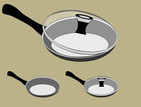 Frying pan vector set with lid