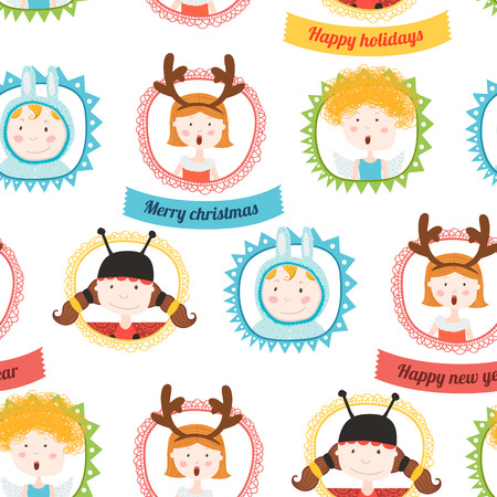 Background christmas frame with kids animals Vector
