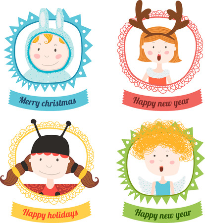 santa s elf: Frame christmas with kids animals Illustration