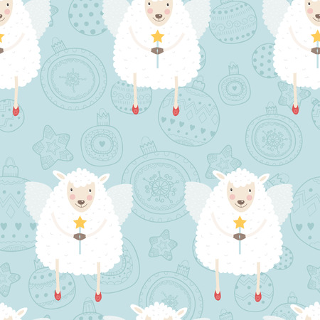 Christmas pattern with sheep, wings and a magic wand Ilustrace