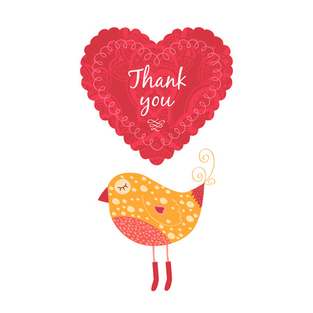 wedding reception decoration: Vector thank you note with birds, label and heart