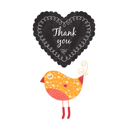 wedding reception decoration: hank you note with birds, label and heart