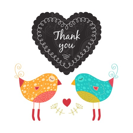 wedding reception decoration: thank you card with birds,flower and heart. Isolated on white background.