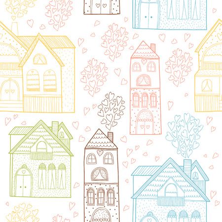 family holiday: Home seamless background with house and hearts