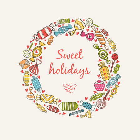 boarders: Frame border sweet holidays illustration