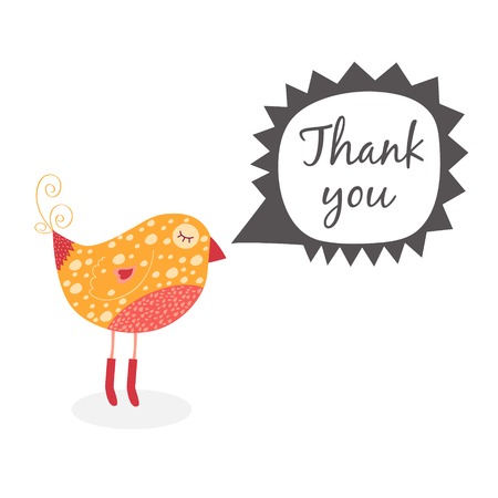thank you note: thank you note with cute bird and speech bubbles