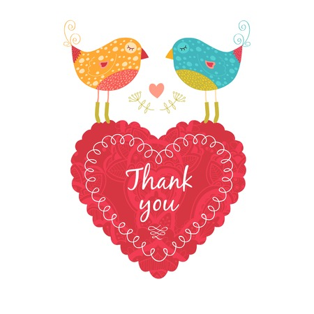 Vector thank you note with birds, flower and heart Imagens - 32604358