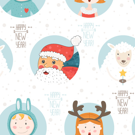 christmas seamless pattern: Happy new year vector background. Seamless christmas pattern with santa claus, sheep and cute children.