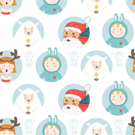 year of the sheep: Happy new year background, Seamless christmas pattern with santa claus, sheep and cute children.