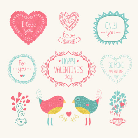 tea party: Valentine elements for design card. With bird, heart, label, border and other decorative elements illustration isolated on white background with hand drawn letters.