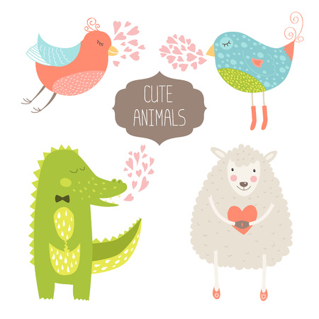 alligator: Cute animals collection illustration with birds, alligator and sheep