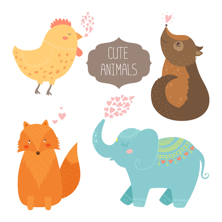 Cute animals collection illustration with hen, dog, fox and elephant isolated on white background Vector