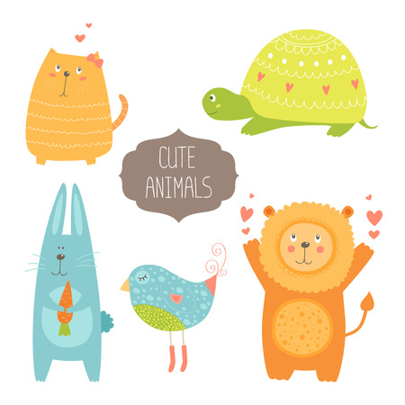 turtles love: Cute animals collection illustration with cat, turtle, rabbit, bird and lion isolated on white background