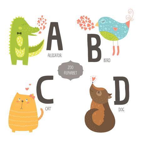 alfabeto con animales: Alfabeto zoológico lindo con animales de dibujos animados aislados sobre fondo blanco. A, b, c, letras d. Cocodrilo, pájaro, gato y perro.