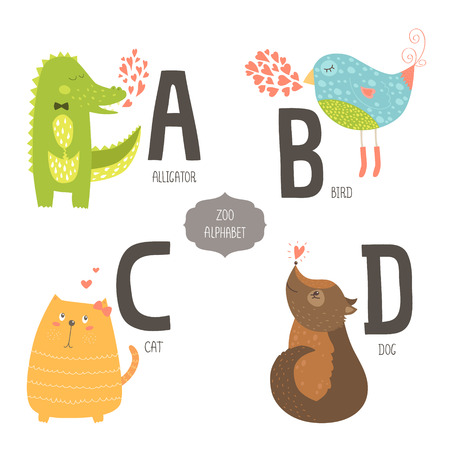 Cute zoo alphabet with cartoon animals isolated on white background. A, b, c, d letters. Alligator, bird, cat and dog. Vector
