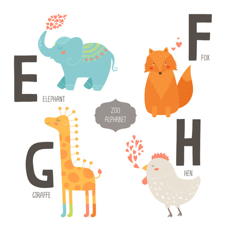 Cute zoo alphabet with cartoon animals isolated on white background. E, f, g, h letters. Elephant, fox, giraffe and hen.