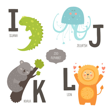 vocabulary: Cute zoo alphabet with cartoon animals isolated on white background. I, j, k, l letters. Iguana, jellyfish, koala and lion.