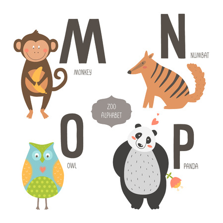 Cute zoo alphabet with cartoon animals isolated on white background. M, n, o, p letters. Monkey, numbat, owl and panda. Vector