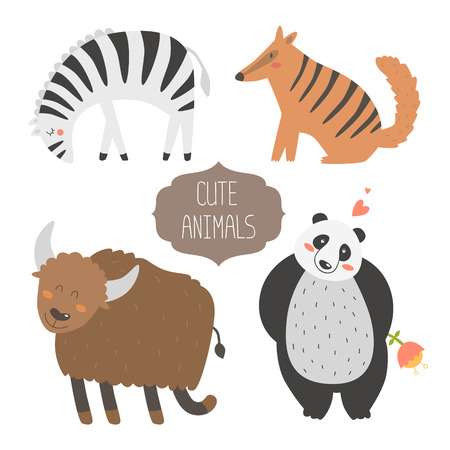 cartoon panda: Cute animals collection illustration with zebra, numbat, yak and panda isolated on white background