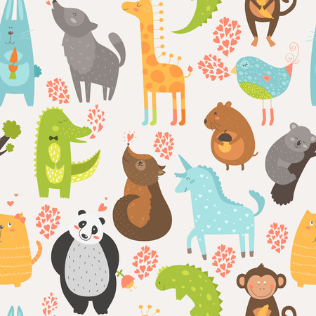 Animal background with cute bird, alligator, dog, giraffe, rabbit, vole, panda, monkey, wolf, unicorn, koala and cat. Zoo love seamless pattern Vector