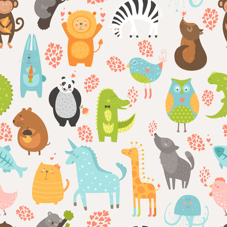 Animal background with cute bird, alligator, dog, hen, jellyfish, rabbit, owl, zebra, vole, wolf, unicorn, lion, koala, monkey, giraffe, panda and cat seamless pattern Vector