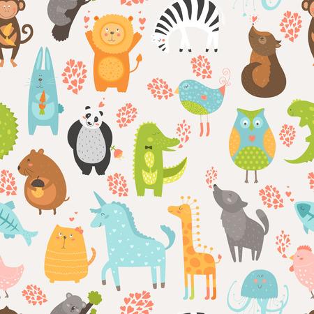 lion dog: Animal background with cute bird, alligator, dog, hen, jellyfish, rabbit, owl, zebra, vole, wolf, unicorn, lion, koala, monkey, giraffe, panda and cat seamless pattern Illustration