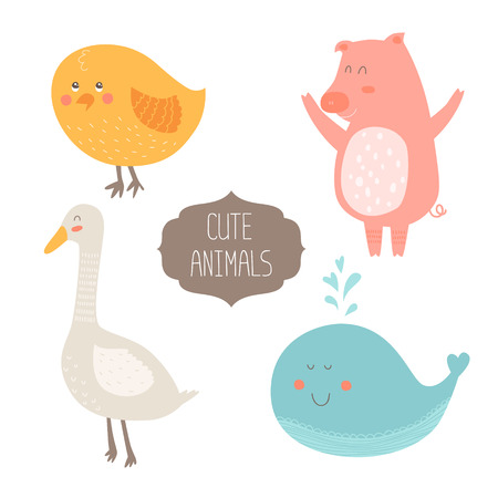 Cute animals collection illustration with keith, pig, chicken and goose isolated on white background Illustration