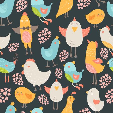 wallpapper: Cute birds seamless background Illustration