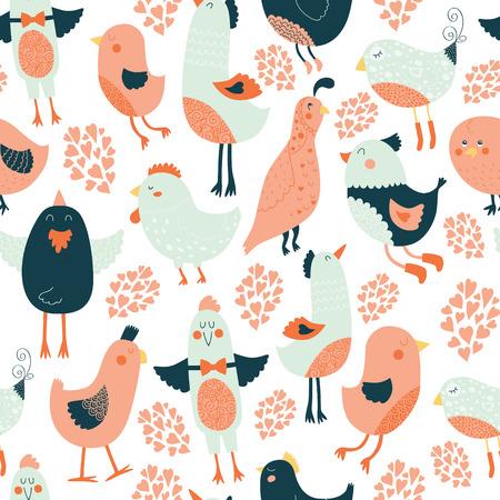 Cute birds seamless background Vector