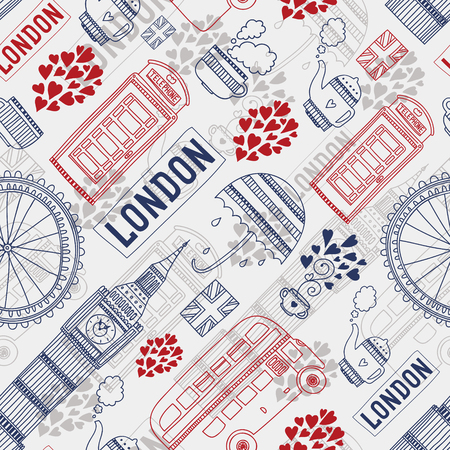 London background with tourism attractions and symbols Vector