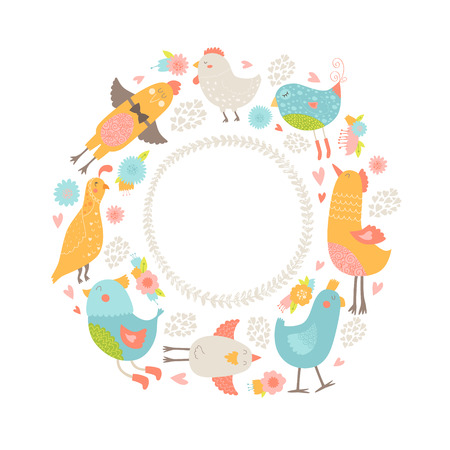 Vector frame with cute birds, flowers and hearts. Birds cartoon fame with love Illustration