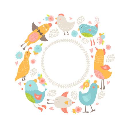 Vector children: Vector khung với các loài chim dễ thương, hoa và trái tim. Phim hoạt hình nổi tiếng với các loài chim tình yêu