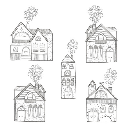 Vector home collection isolated on white background, house hand drawn with love