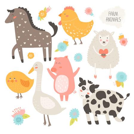 꽃과 함께 농장 동물 컬렉션. 벡터 귀여운 동물, 소, 돼지, 양, 닭, 말, 닭, 거위는 흰색 배경에 고립