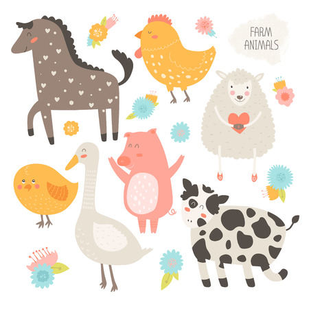 Farm animals collection with flower. Vector cute animals, cow,  pig,  sheep,  chicken, horse, hen, goose isolated on white background Stock Illustratie
