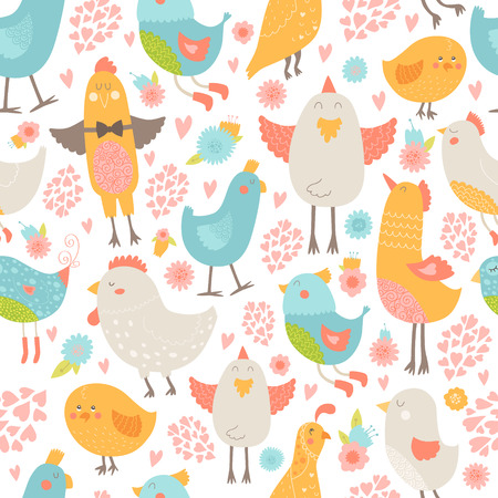wallpapper: Cute birds seamless background, vector cartoon illustration with love isolated on white background
