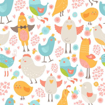 wallpapper: Uccelli svegli sfondo trasparente, illustrazione vettoriale cartone animato con amore isolato su sfondo bianco Vettoriali