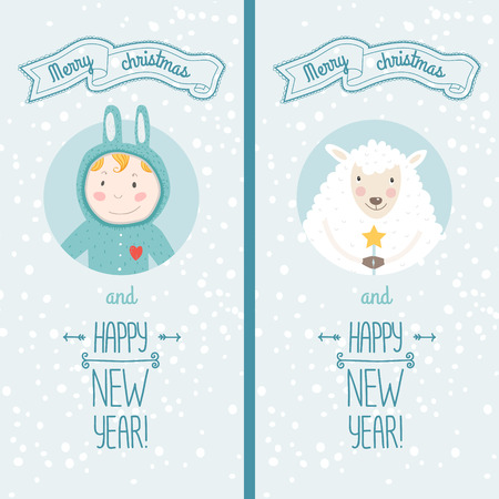 happy new year card with cute boy and christmas sheep vector illustration merry christmas and