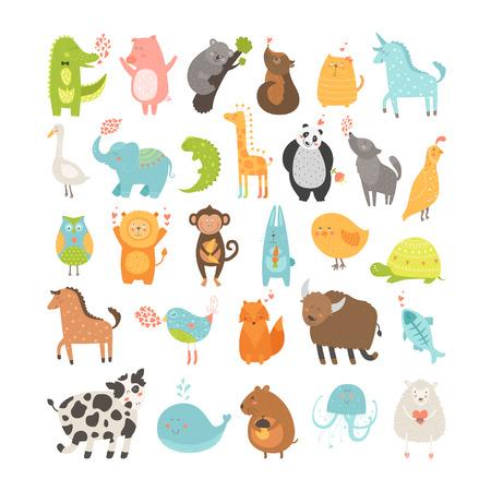 oiseau dessin: Mignon collecte des animaux. Illustration