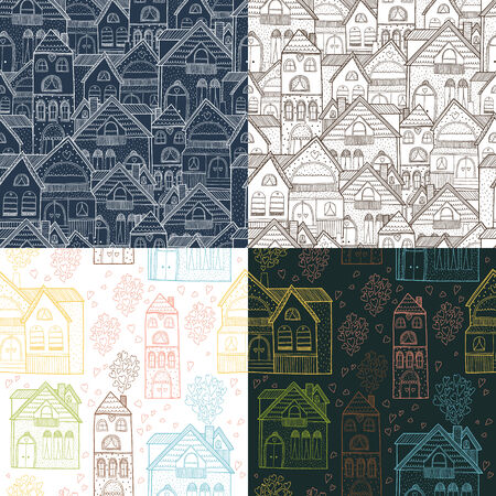 welcome home: Home seamless background collection with house and hearts, vector illustration