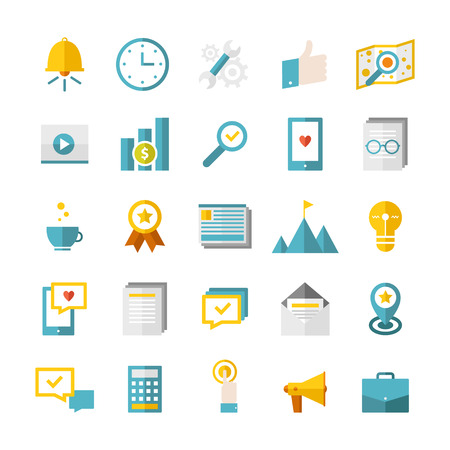 adress book: Modern flat business icons vector collection. Web design objects, SEO, business, office and marketing items. Isolated on white background