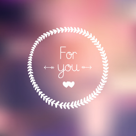 Nature frame and love letter Only you with hearts on gradient background, EPS 10. Romantic greeting card Vector
