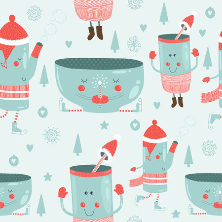 tea tree: Vector christmas background with cute mug of tea, glass, kettle, tree, snowflakes, and love. Seamless new year pattern
