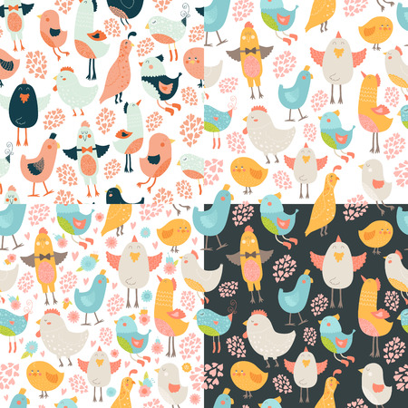 Cute birds seamless background collection, vector cartoon birds patterns with love Vector