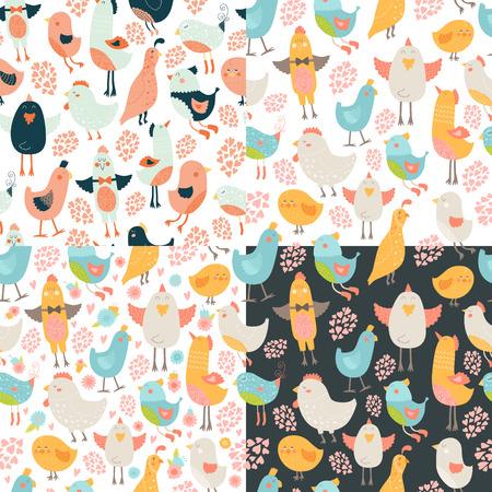 wallpapper: Cute birds seamless raccolta sfondo, vettore cartone animato uccelli modelli con amore Vettoriali