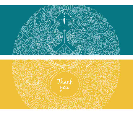 vedas: Vector banners with woman praying on blue and yellow background
