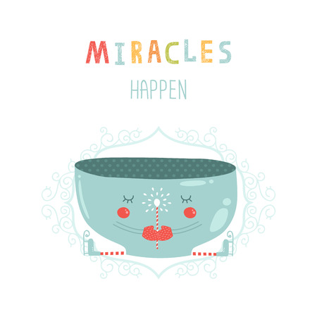 miracles: Christmas vector card with cute mug, magic wand and skates. New year illustration  Miracles happen with decorative elements